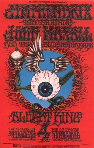 Jimi Hendrix winterland san francisco 2nd feb 1968,by Rick Griffin