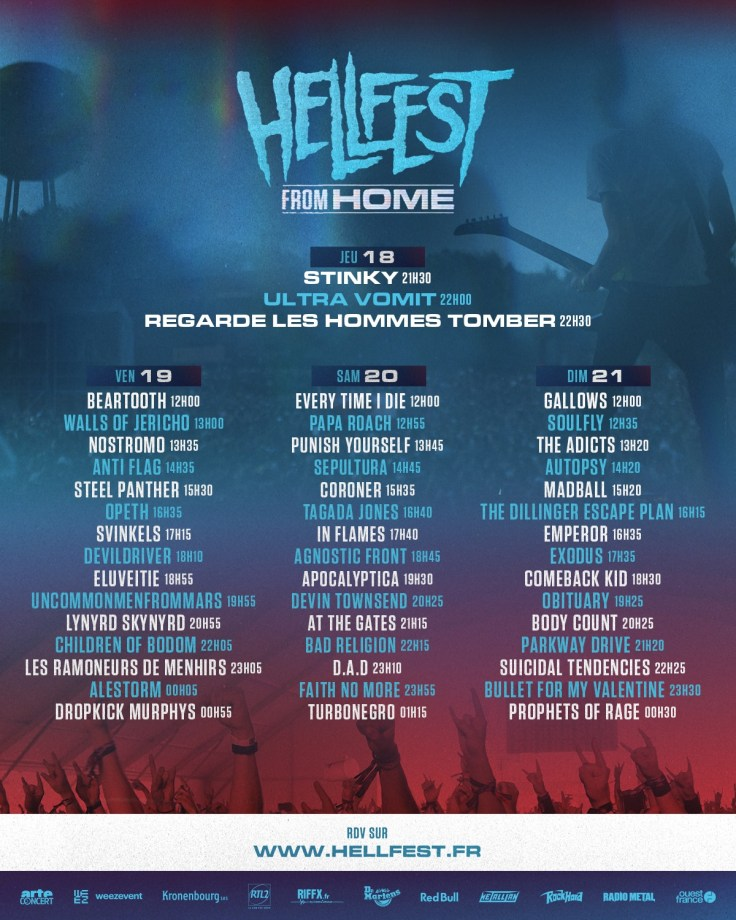Hellfest From Home - running order week-end
