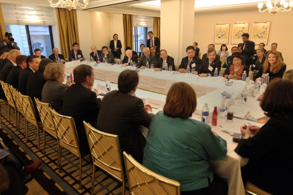 President Benigno S. Aquino III, his cabinet secretaries, and CEOs of leading U.S. companies during the Business Roundtable held at the Gramercy Room, The Peninsula Hotel, New York | Photo by Jay Morales of Malacañan Photo Bureau