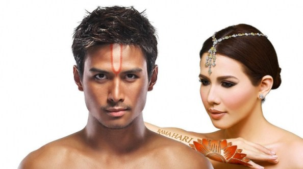 "Pop stars Christian Bautista and Karylle Tatlonghari in Ballet Philippines's ""Rama Hari"" 