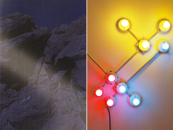 "Left: A.K. Burns, ""Hard Rock"", 2012, Digital C-Print, 34 x 44 inches / Right: G.T. Pellizzi, ""Conduit in Red, Yellow, & Blue"" (Detail), 2011, Light bulbs, galvinized steel, convolute porcelain, and wire"