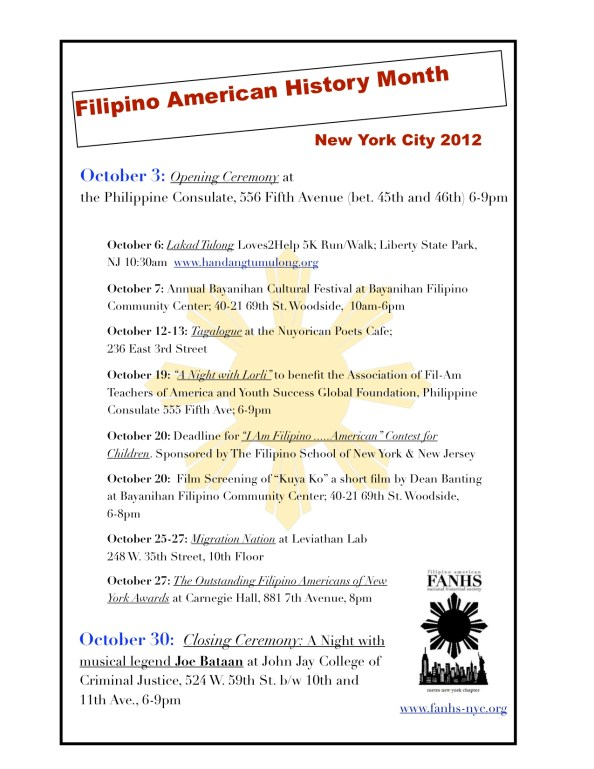 Calendar of activities for October 2012 Filipino American history month
