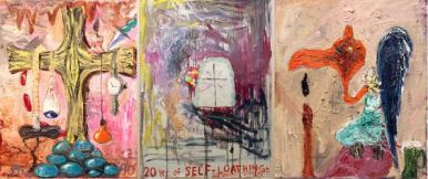 """Triptych paintings from Manuel Ocampo""""s """"The View Through the Bull of a Manual Laborer of Menagerie Gussied Over White Ground: 20 Years of Self-Loathing and Intestinal Mishaps"""""""