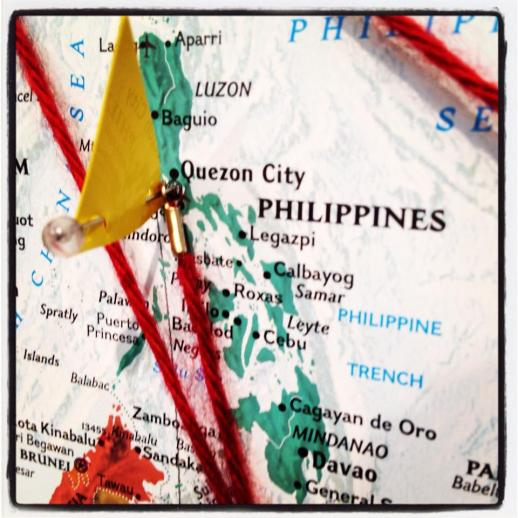 Day 3 of our installation process at La Galleria FROM THE EDGE PERFORMANCE DESIGN IN THE DIVIDED STATES OF AMERICA. I pinned a yellow flag on the capital of the Philippines in the map of the world.