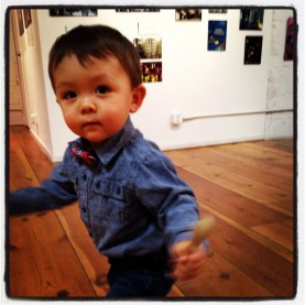 "Day 5 | LaMaMa LaGalleria | A young boy dances to the hip sound design by Don Tindall in ""From the Edge: Performance Design in the Divided States of America"""