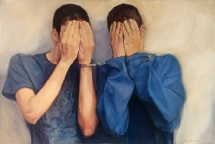 Shohreh Mehran, Untitled, from Defaced series, 2012, Oil on canvas, 100 x 150 cm
