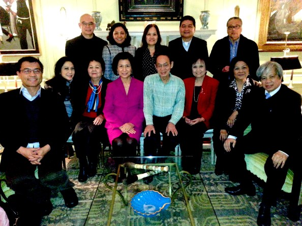 "Sponsors of the 'Noli' opera in New York City |  (Seated, left to right): Randy Gener, production dramaturge of ""Noli Me Tangere: The Opera""; Stephanie Francine Osmeña, real-estate associate of Larry Kaiser Key Ventures; Aida Bartolome, executive director of Foundation of Filipino Artists; Loida Nicolas Lewis, lead producer of ""Noli Me Tangere: The Opera""; Philippine composer and music scholar Bayani de Leon; Aleflor Gamo Ragaza, internist from Bacolod; Angie Cruz, founder/president of the Institute for Spirituality in the Workplace; and Michael Dadap, music director of the ""Noli"" opera. (Standing, left to right): Jerry Sibal, New York event designer; Nerissa Abadilla of the Bayanihan Philippine Dance USA Alumni Association; Nanette Sering Wright, San Lorenzo Ruiz Chapel Board of Adviser; Edwin Josue, real estate broker of Halstead Property; and Dr. Edgardo Ragaza, partner and founder of the Connecticut Heart Group, P.C., a cardiovascular specialty group, and president of the Federation of Filipino-American Associations of Connecticut.  (Not pictured but present at the party: Gail Alvarez of the Alvarez Family Foundation, and her husband Tony Alvarez of Alvarez & Marsal; and L. M. Reyes Wiesel, New York host of Bayani de Leon.)"