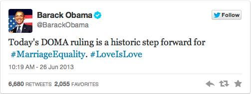 President Barack Obama tweets on Supreme Court ruling