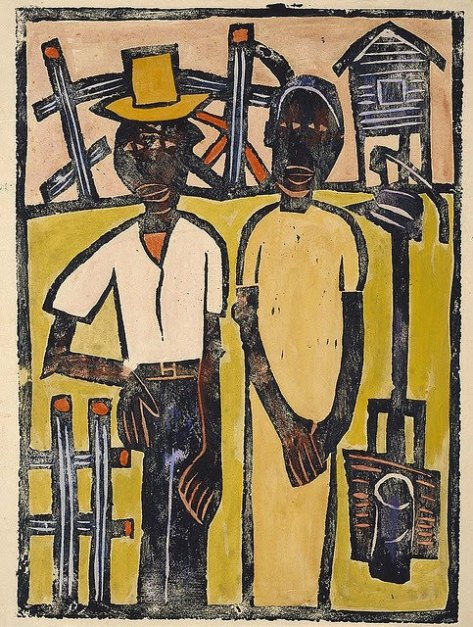 William H. Johnson (American artist, 1901-1970) Farm Couple at Well 1939-40 Print