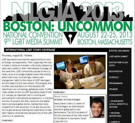 "International Journalism Seminar on LGBT Issues and Human Rights Coverage at the NLGJA ""Boston: Uncommon"" National Convention and 9th LGBT Media Summit"