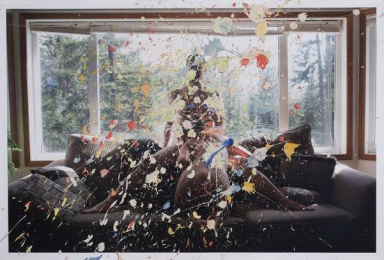 "Sarah Anne Johnson's ""Splatter Paint"" (2013) chromogenic print with oil paint  30 x 44"