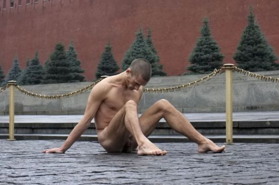 Russian Peter Pavlensky nailed his scrotum on the cobblestones of Red Square in Moscow on November 10.