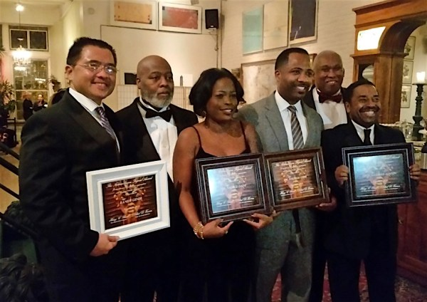 Nubian Union Legend Awards | Honorees and Hosts Randy Gener, Clark D. Everson, TouroCOM Dean of Student Affairs Nadege Dady, Ed.D., William Gibbs, M.D., Professor Richard Alston (front), Henry C. Rawls