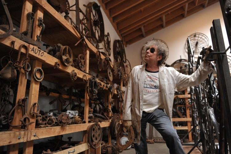 Bob Dylan welds in his studio.