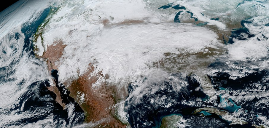 View from the heavens of North America from a NASA weather satellite   Photo credit: NASA and NOAA's GOES-16