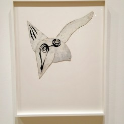 """LOUISE BOURGEOIS (American, born France. 1911–2010) Self-Portrait as Bird 1945 Oil and ink on cut board with rivets 13 3/16 × 13 3/16"""" (33.5 × 33.5 cm) Gift of Jan Christiaan Braun in honor of Kathleen S. Curry 1267.2016"""