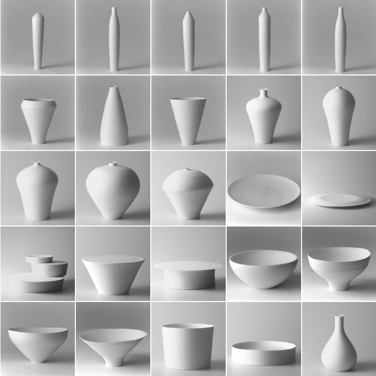 Fine white porcelain by Japan's minimalist ceramicist Taizo Kuroda