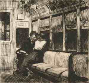 Gravure sur la solitude, couple dans un train desert