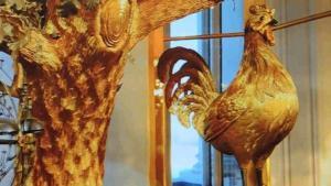 L'Ermitage - Le coq, l'une des trois figurines mécaniques de l'horloge