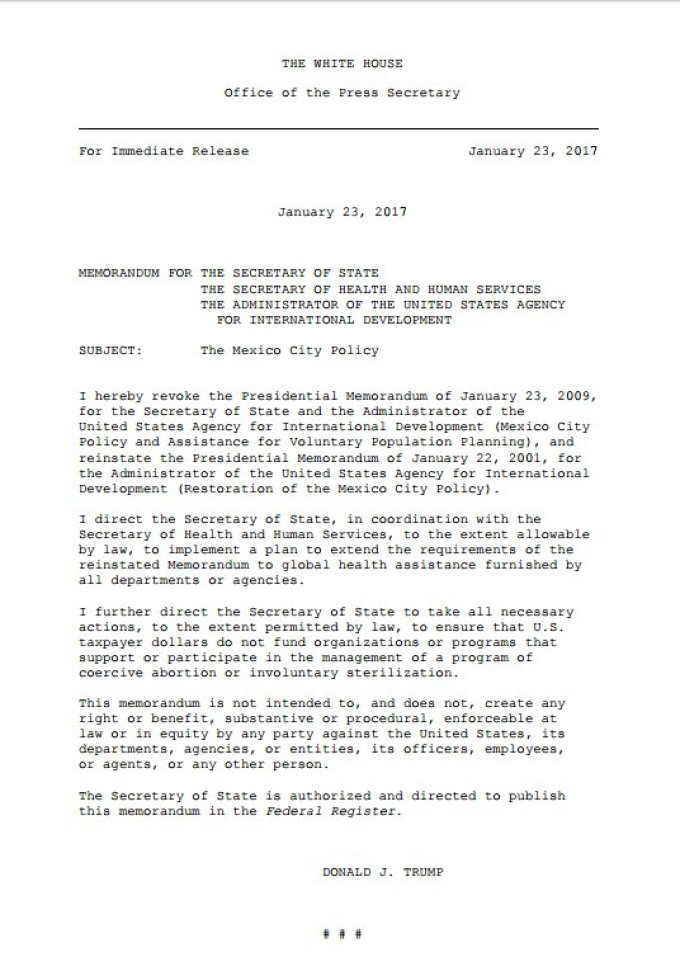 Mexico City Policy Executive Order