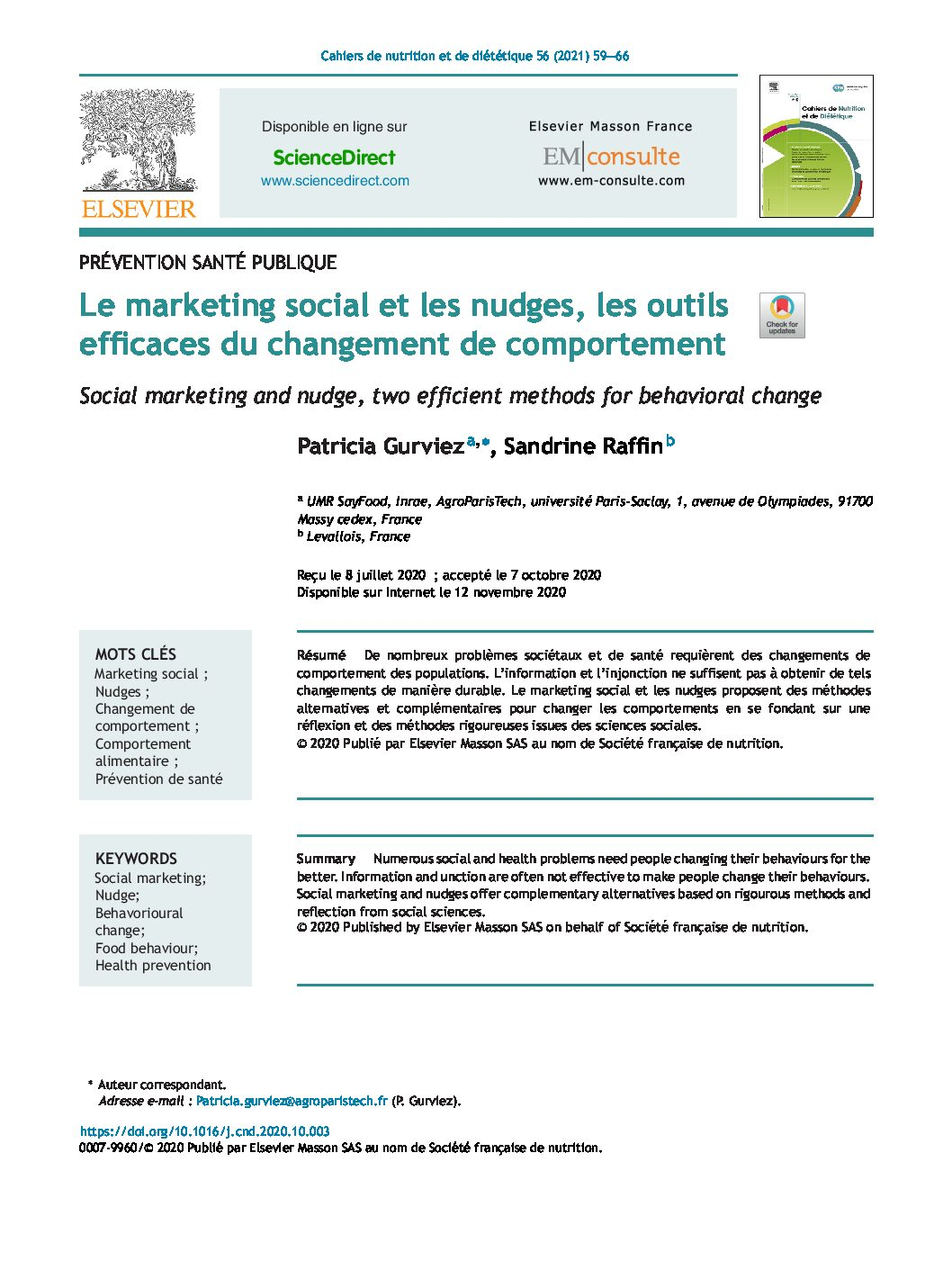 Le changement de comportement alimentaire par le marketing social & les nudges