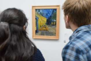 """""""Cafe Terrance at Night"""" by Vincent Van Gogh inside the Kröller-Müller Museum in the Netherlands. Photo taken by Cisco Mora."""