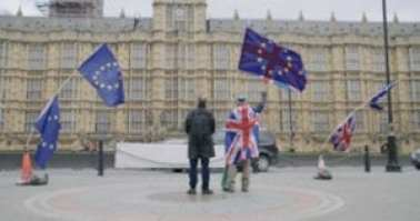 Photo of Filmmaker — David Wilkinson and Remainer protestor — Steve Bray outside of the House of Commons.