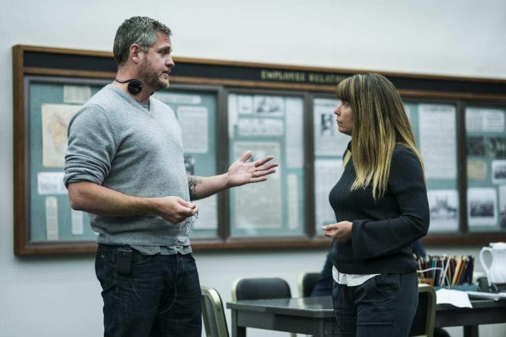 "Screenwriter Sam Sheridan and Director Patty Jenkins on the set of  ""I am the Night."""