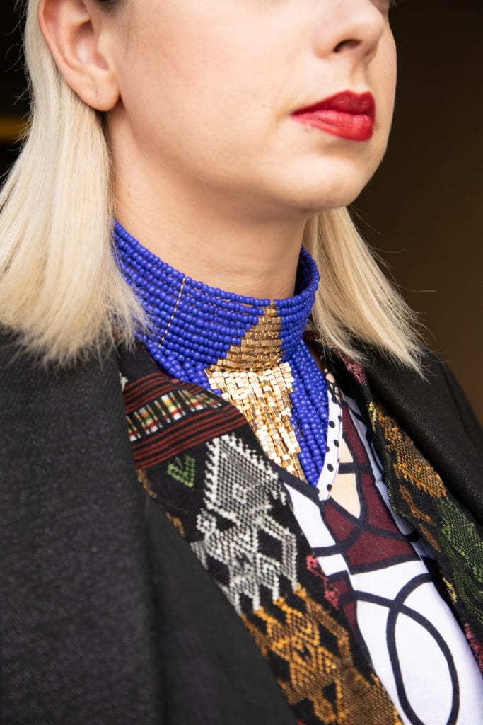 blue chocker. does culture and global mobility affect your style?