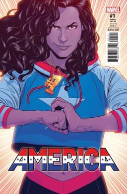 Variant cover of America #1 (May 2017). Art by Jamie McKelvie.