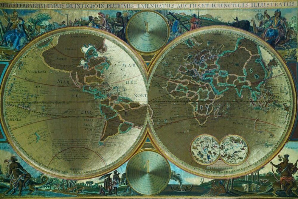 Intricate Gold Latin language map.