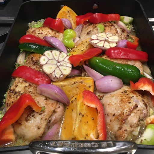Chicken and split-pea tray bake