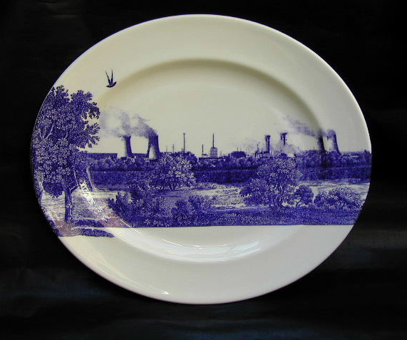 The Scott Collection, Cumbrian Blue(s) 2000, Seascale Pigeon. In-glaze decal collage on Royal Worcester bone china platter 44cm x 37.5cm. Paul Scott 2000.