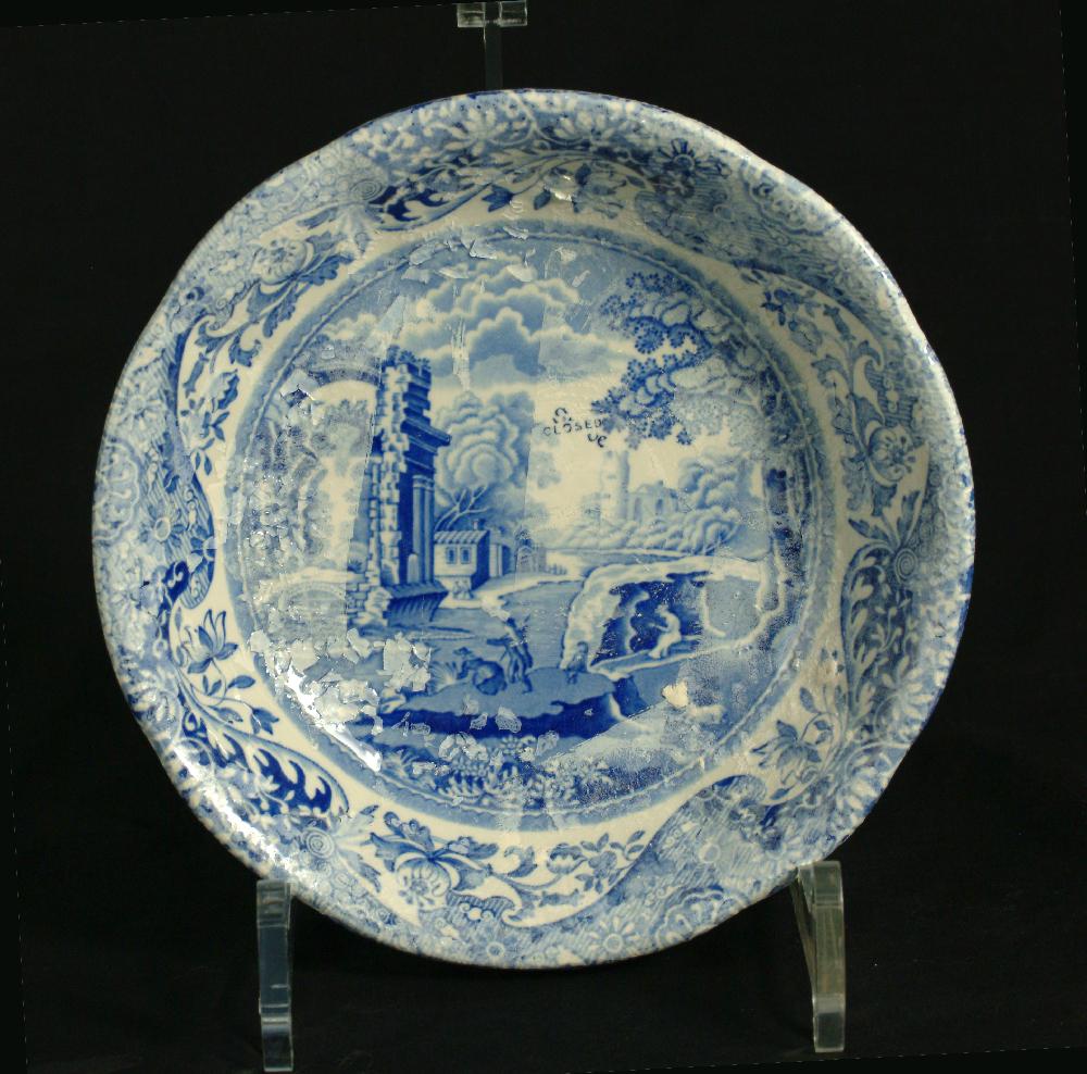Scott's Cumbrian Blue(s) Spode Works Closed Italian Blue Dish