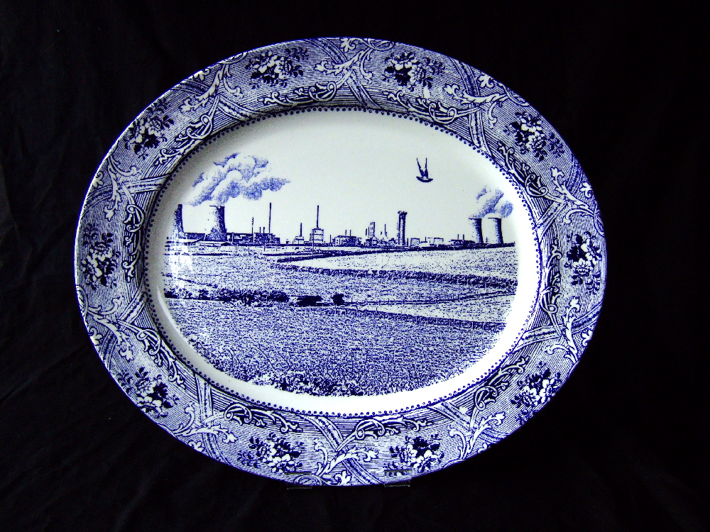 Scott's Cumbrian Blue(s) - Seascale Pigeon, Marseillaise Pattern. In-glaze decal collage and gold lustre on bone china platter 41cm x 35cm. Paul Scott 2003.