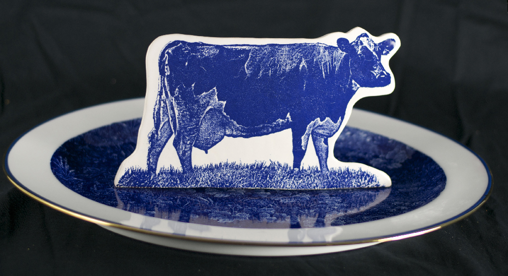 Scott's Cumbrian Blue(s) Cow in a Meadow After Thomas Bewick