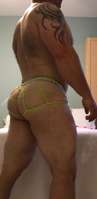 meaty thick hairy arse in yellow jock