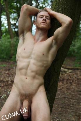 naked outdoors hung young sexy man