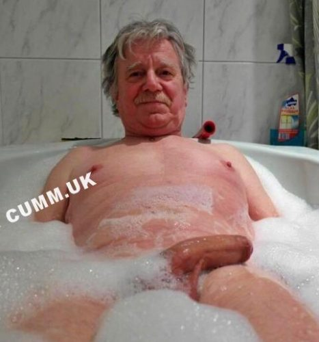 old man washing his big dick