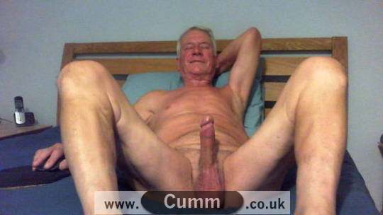 silver daddy displays his huge penis