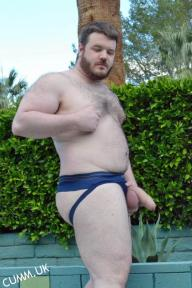 Hung, handsome, manly, horny, hairy, non-scene/str8-acting/looking/living work-mate-type hung-bouncer/rugby captain, in gents changing rooms after sports/gym/game etc.