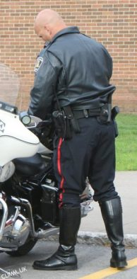 leather daddy big cop arse