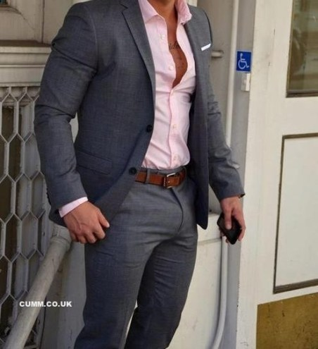 man in suit with big cock bulge