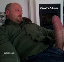 this sexy mature rugby fan bear has a really fat cock