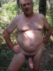 mature man naked in wood big fat cock displayed