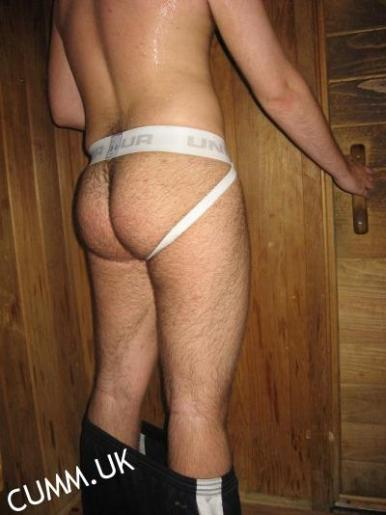 sauna wearing jocks hairy arse