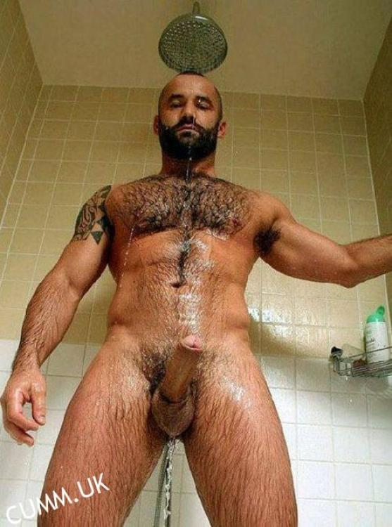 sexy bear shower washing his erect penis