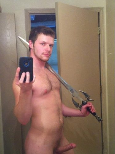 shaved-guy-sexy-sword Nude male relax on his bed and takes photo of himself showing shaved body and large hot penis