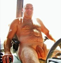 silver daddy farmer shows his mighty fat cock