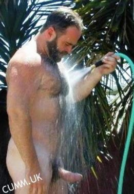 washing my gardener's  cock